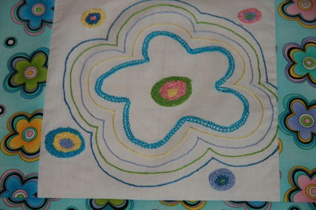 Here is the original block party assignment block.  I was given the blue flowered fabric.  I will take it back to the guild and see if I will win  blocks enough to make a quilt!